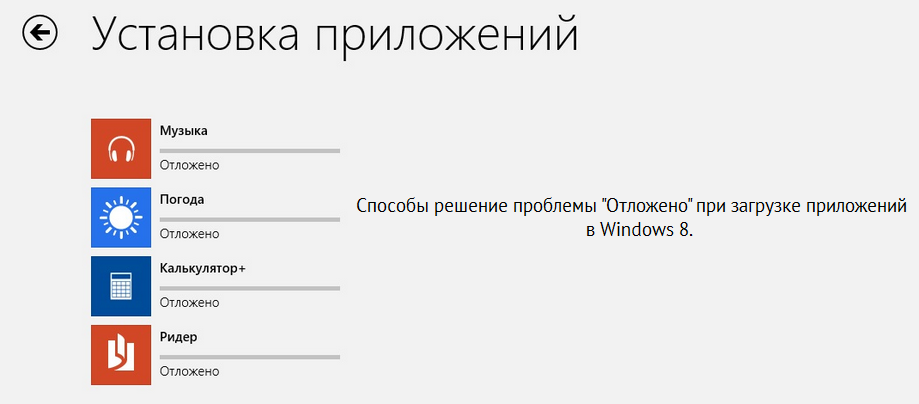 windows 8 отложено
